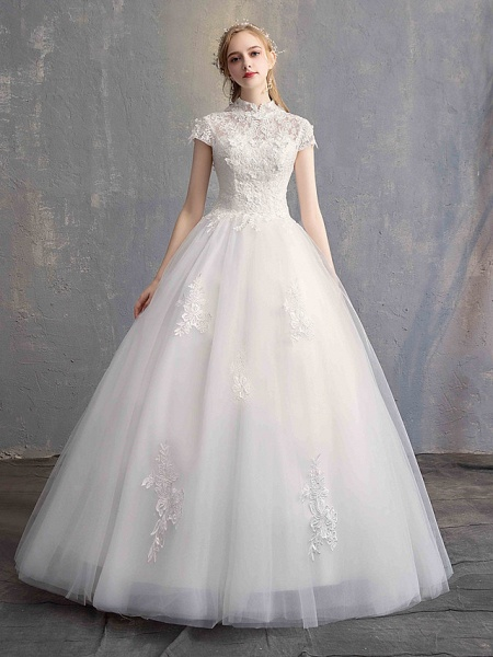 Ball Gown Wedding Dresses High Neck Floor Length Lace Tulle Lace Over Satin Short Sleeve Vintage Illusion Sleeve_1