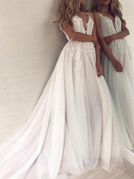 A-Line Wedding Dresses V Neck Court Train Polyester Spaghetti Strap Formal Boho Plus Size_2