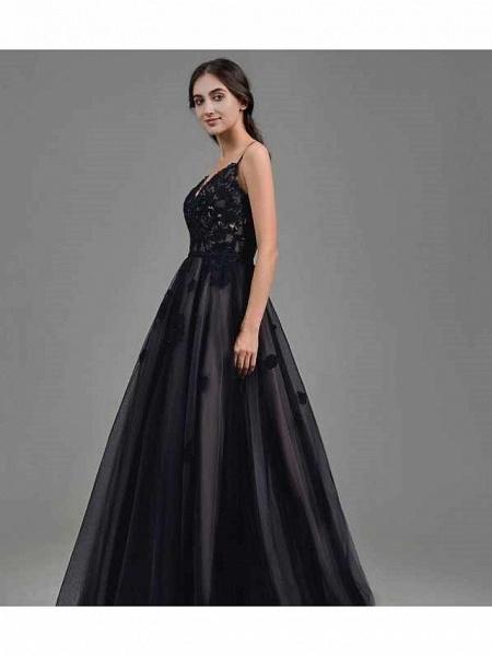 A-Line Wedding Dresses Sweetheart Neckline Floor Length Lace Satin Tulle Spaghetti Strap Black Modern_2
