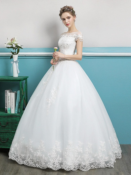Ball Gown Wedding Dresses Bateau Neck Floor Length Lace Tulle Polyester Short Sleeve Romantic_4