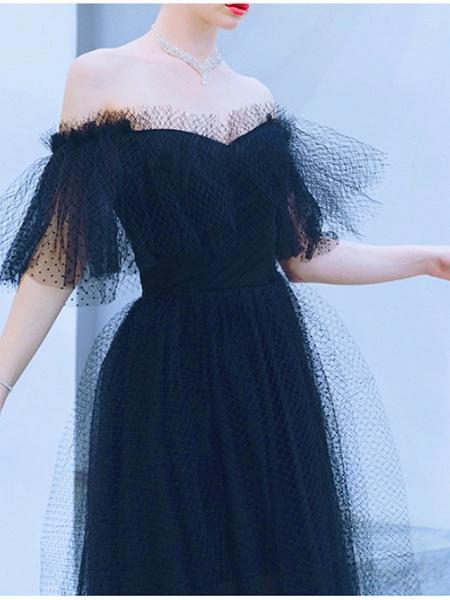 A-Line Wedding Dresses Off Shoulder Floor Length Tulle Short Sleeve Formal Black_3