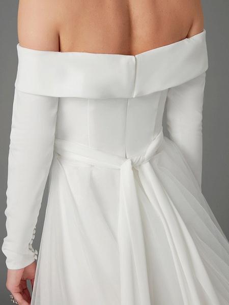 A-Line Wedding Dresses Off Shoulder Chapel Train Chiffon Tulle Long Sleeve Sexy_12