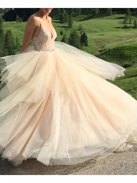 A-Line Wedding Dresses V Neck Spaghetti Strap Sweep \ Brush Train Lace Tulle Sleeveless Sexy_1