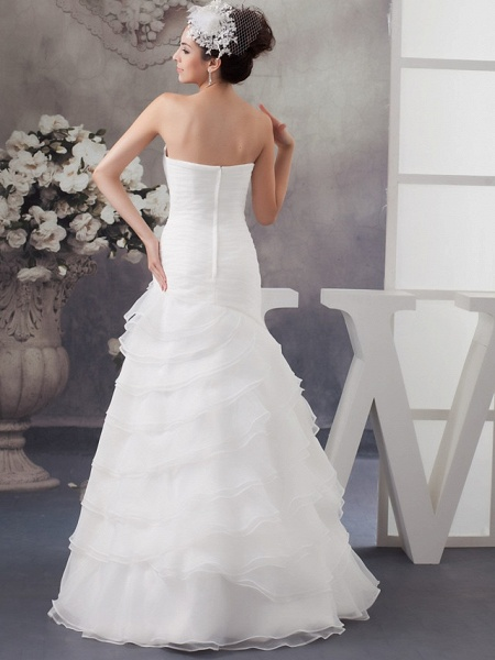 A-Line Sweetheart Neckline Floor Length Organza Satin Strapless Wedding Dresses_3