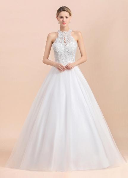 Halter Lace Appliques A-line Sleeveless Wedding Dress_2