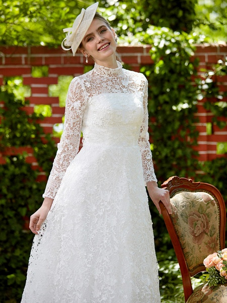 A-Line Wedding Dresses Illusion Neck Court Train All Over Lace Long Sleeve Floral Lace_9