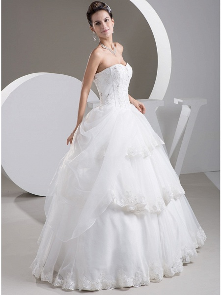 Ball Gown Sweetheart Neckline Floor Length Lace Organza Satin Strapless Wedding Dresses_2