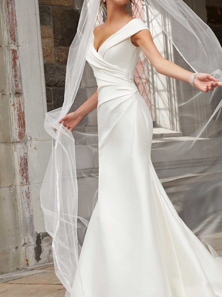 Mermaid \ Trumpet Wedding Dresses Off Shoulder Sweep \ Brush Train Polyester Cap Sleeve Country Plus Size_3