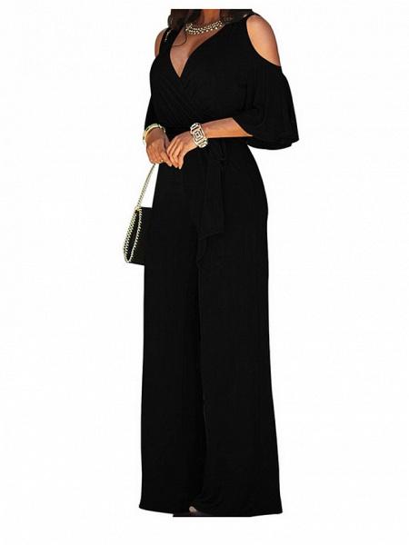 Women's Wide Leg Cut Out Party Off Shoulder Black Wine Royal Blue Wide Leg Jumpsuit_3