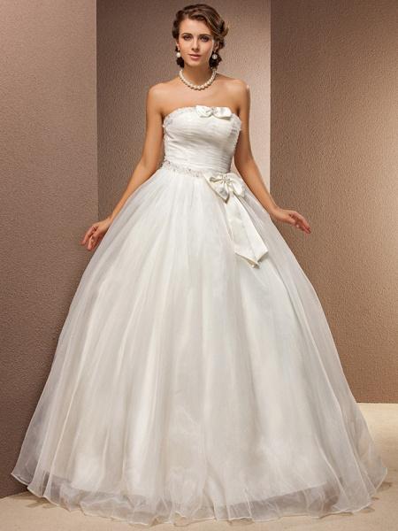 Ball Gown Wedding Dresses Strapless Floor Length Tulle Sleeveless_1