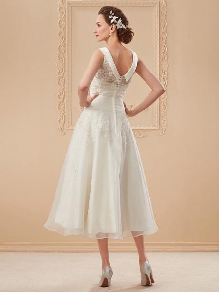 A-Line Wedding Dresses Bateau Neck Tea Length Organza Floral Lace Regular Straps Formal Casual Illusion Detail_12