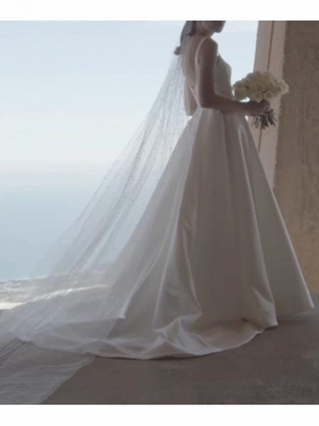 A-Line Wedding Dresses Square Neck Sweep \ Brush Train Satin Spaghetti Strap Plus Size Elegant_3