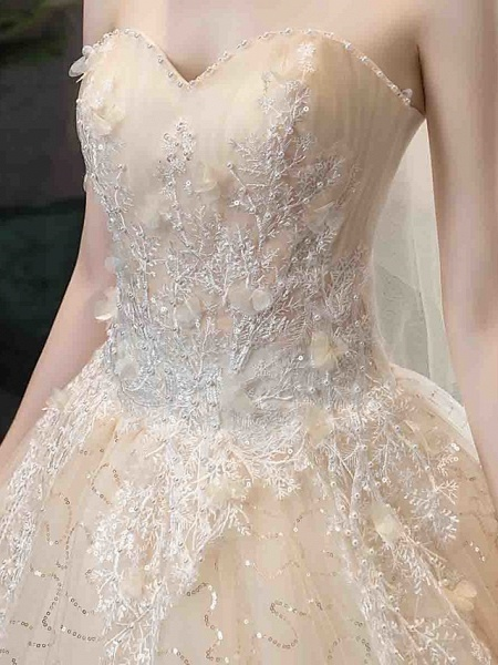 Ball Gown Wedding Dresses Strapless Court Train Tulle Strapless Country Glamorous Illusion Detail_4