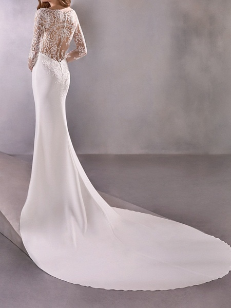Mermaid \ Trumpet Wedding Dresses Plunging Neck Court Train Polyester Long Sleeve Country Illusion Sleeve_2