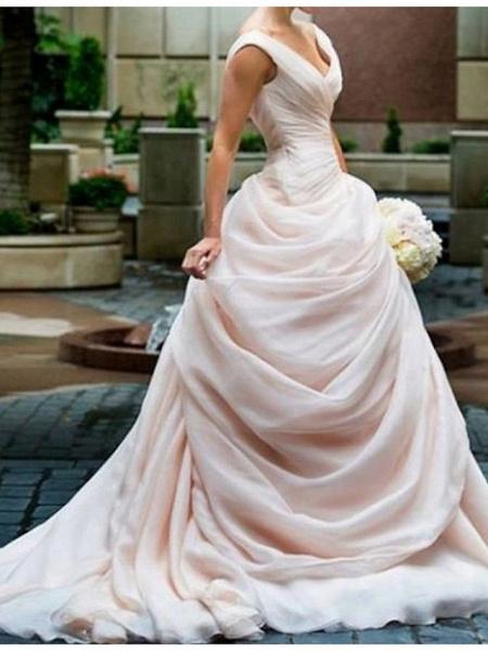 Ball Gown V Neck Sweep \ Brush Train Polyester Sleeveless Romantic Plus Size Wedding Dresses_2