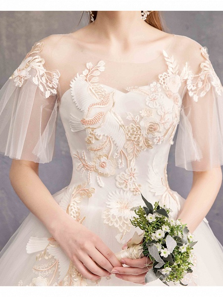 Ball Gown Wedding Dresses Bateau Neck Maxi Lace Tulle Short Sleeve Glamorous See-Through Backless_7
