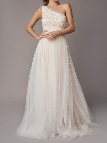 A-Line Wedding Dresses One Shoulder Sweep \ Brush Train Tulle Sleeveless Country Backless_1