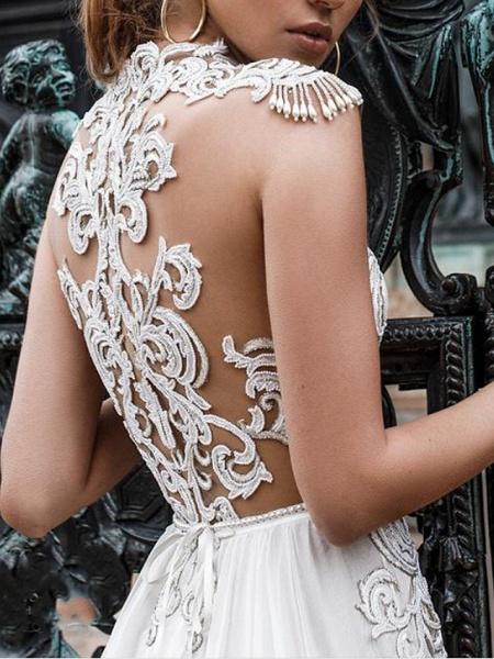Two Piece A-Line Wedding Dresses Halter Neck Sweep \ Brush Train Detachable Lace Chiffon Over Satin Sleeveless Beach Boho Sexy See-Through_4