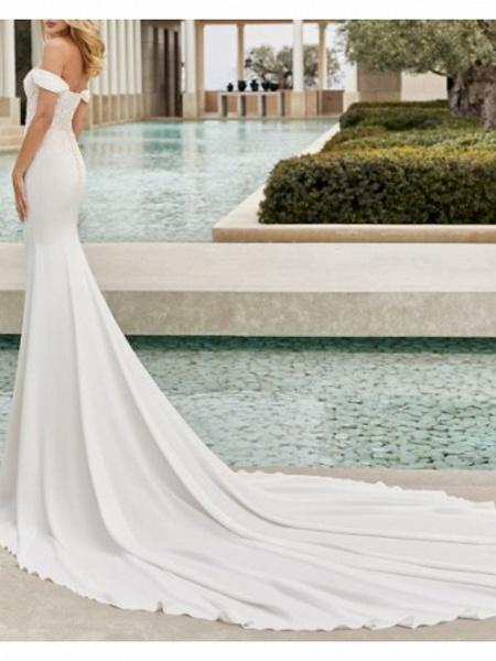Mermaid \ Trumpet Wedding Dresses Off Shoulder Court Train Lace Satin Cap Sleeve_2