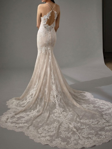 Sheath \ Column Wedding Dresses Jewel Neck Chapel Train Lace Sleeveless Sexy Wedding Dress in Color_4