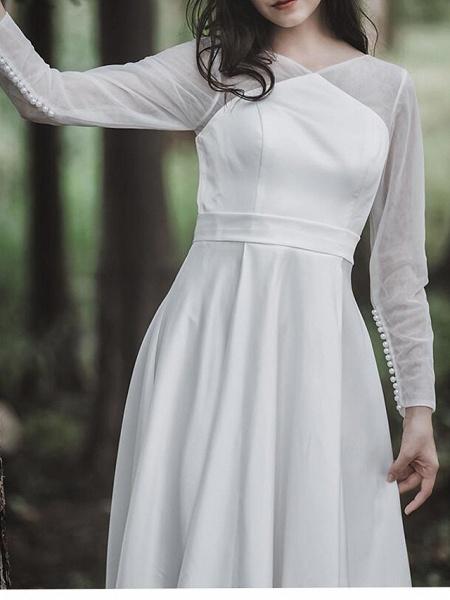 A-Line Wedding Dresses V Neck Court Train Chiffon Satin Long Sleeve Simple Elegant_4