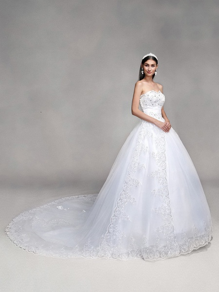Ball Gown Wedding Dresses Sweetheart Neckline Sweep \ Brush Train Tulle Over Lace Strapless Country Glamorous Sparkle & Shine Backless_1