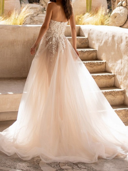 A-Line Wedding Dresses Sweetheart Neckline Sweep \ Brush Train Tulle Sleeveless Formal See-Through_2