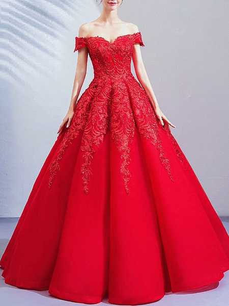 Ball Gown Wedding Dresses Off Shoulder Floor Length Lace Cap Sleeve Romantic Plus Size Red_1
