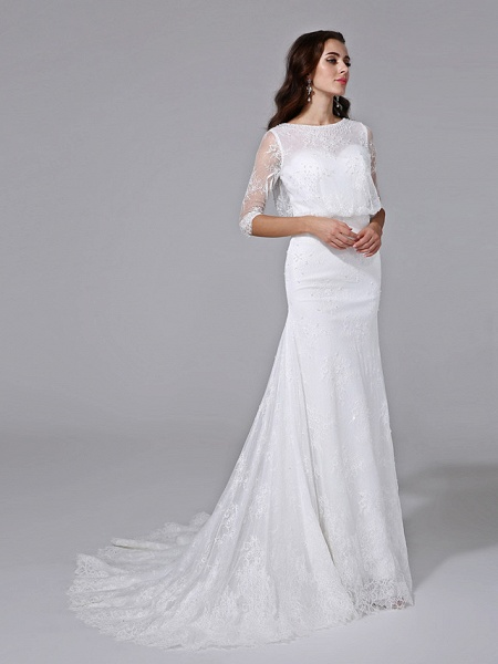 Mermaid \ Trumpet Wedding Dresses Scoop Neck Court Train Satin Lace Over Tulle Half Sleeve Simple Backless Illusion Sleeve_5