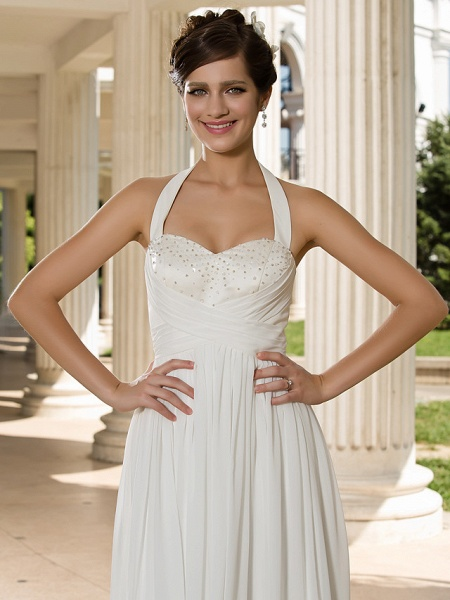 A-Line Wedding Dresses Halter Neck Floor Length Chiffon Sleeveless See-Through_5