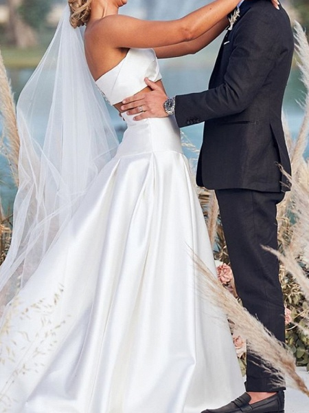 Two Piece A-Line Wedding Dresses Strapless Sweep \ Brush Train Chiffon Over Satin Sleeveless Beach Boho Sexy_3