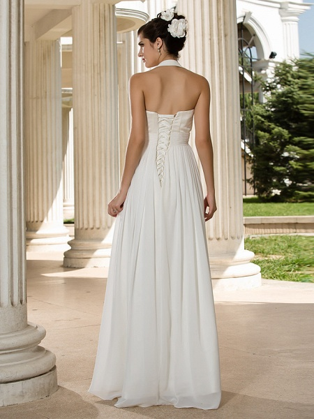 A-Line Wedding Dresses Halter Neck Floor Length Chiffon Sleeveless See-Through_2