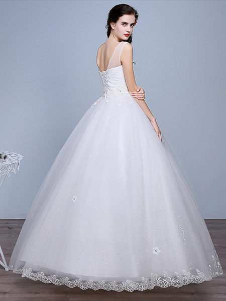 Ball Gown Wedding Dresses Sweetheart Neckline Floor Length Lace Tulle Polyester Sleeveless Romantic Glamorous Sexy_3