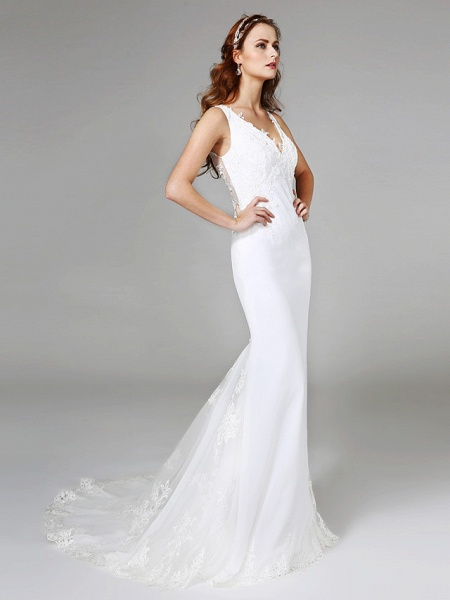 Mermaid \ Trumpet Wedding Dresses V Neck Sweep \ Brush Train Lace Regular Straps Boho Sexy See-Through Plus Size_3