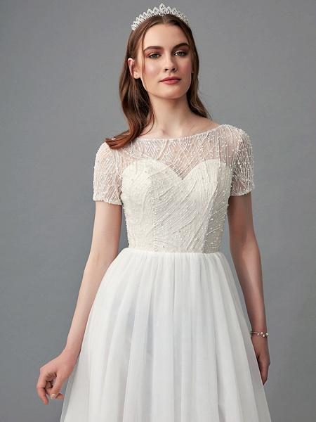 A-Line Wedding Dresses Jewel Neck Sweep \ Brush Train Lace Satin Tulle Short Sleeve 3\4 Length Sleeve Sexy_7