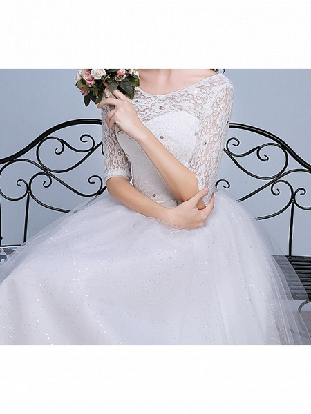 Ball Gown Wedding Dresses Scoop Neck Floor Length Lace Tulle Polyester Half Sleeve Romantic_4