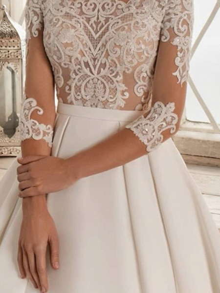 A-Line Wedding Dresses Bateau Neck Sweep \ Brush Train Lace Satin 3\4 Length Sleeve Formal See-Through_3