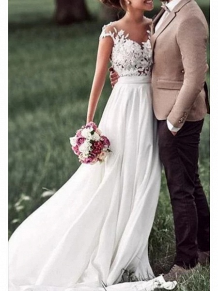 A-Line Wedding Dresses Off Shoulder Sweep \ Brush Train Chiffon Lace Regular Straps Boho_1