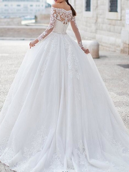 Ball Gown Off Shoulder Sweep \ Brush Train Tulle Polyester Long Sleeve Country Plus Size Wedding Dresses_2