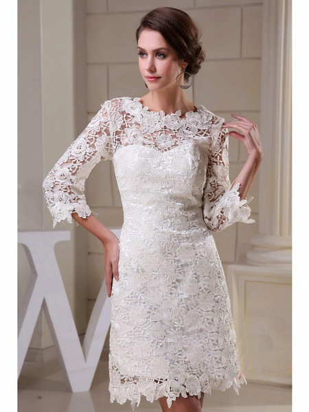 A-Line Wedding Dresses Jewel Neck Knee Length All Over Floral Lace 3\4 Length Sleeve Vintage Backless Illusion Sleeve_3