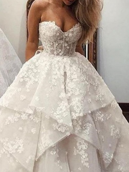 Ball Gown A-Line Strapless Sweep \ Brush Train Lace Tulle Sleeveless Country Wedding Dresses_2