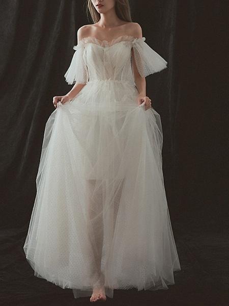 A-Line Wedding Dresses Strapless Floor Length Tulle Short Sleeve Formal_1