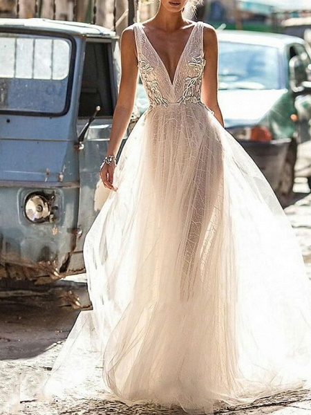 A-Line Wedding Dresses V Neck Floor Length Tulle Regular Straps Boho Illusion Detail Plus Size Backless_1