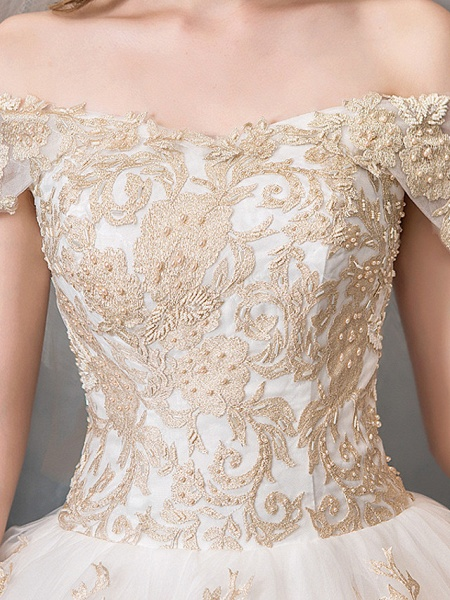 Ball Gown Wedding Dresses Off Shoulder Floor Length Lace Tulle Polyester Cap Sleeve Romantic Sexy_4