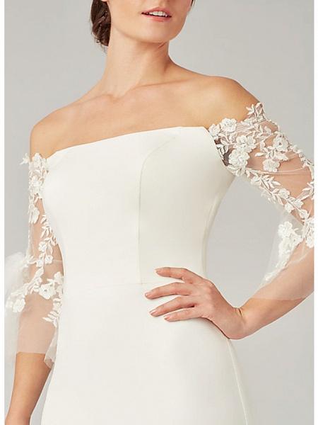 Mermaid \ Trumpet Wedding Dresses Off Shoulder Sweep \ Brush Train Tulle Stretch Satin 3\4 Length Sleeve Simple Illusion Sleeve_3