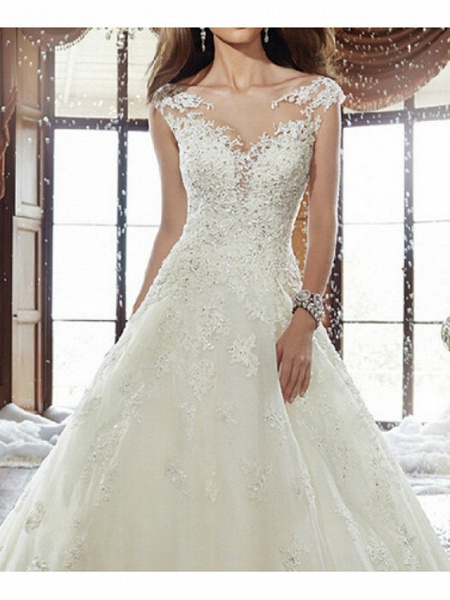 A-Line Wedding Dresses V Neck Sweep \ Brush Train Lace Cap Sleeve Simple Backless_1