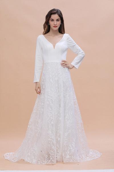 Long Sleeve V-neck Boho Bridal Gowns Satin Backless Lace Wedding Dress_5