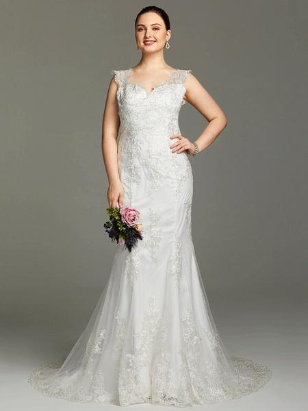 Mermaid \ Trumpet Wedding Dresses V Neck Court Train Lace Sleeveless Open Back See-Through_4