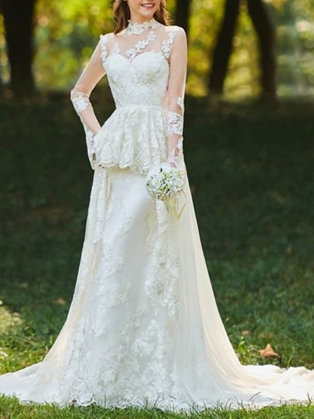 A-Line Wedding Dresses High Neck Sweep \ Brush Train Chiffon Lace Tulle Long Sleeve Romantic Sexy See-Through Backless_1