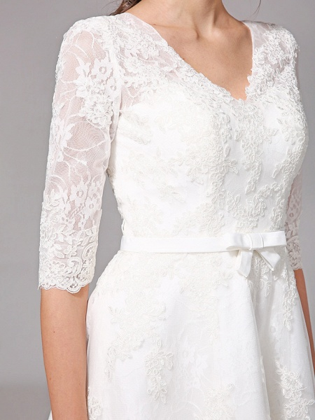 A-Line Wedding Dresses V Neck Knee Length All Over Lace 3\4 Length Sleeve Formal Casual Vintage Cute Illusion Sleeve_10